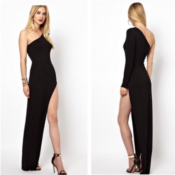 Dresses Black Long Sleeve One Shoulder Open Leg Dress S M Poshmark